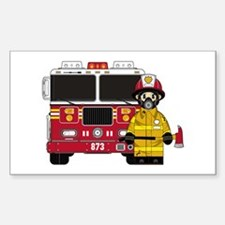 Firefighter and Fire Engine Sticker (Rectangle)
