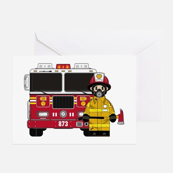 Firefighter and Fire Engine Greeting Card