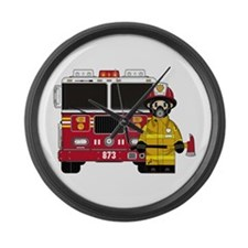 Firefighter and Fire Engine Large Wall Clock