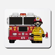 Firefighter and Fire Engine Mousepad