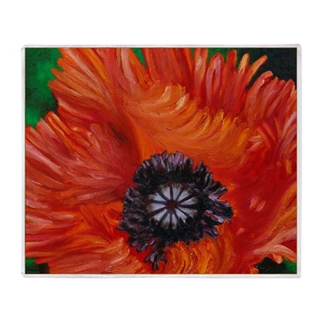 Red Oriental Poppy Throw Blanket