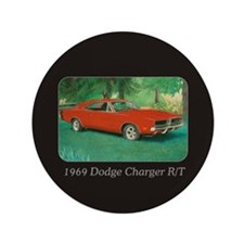 """69 Red Charger Painting 3.5"""" Button"""