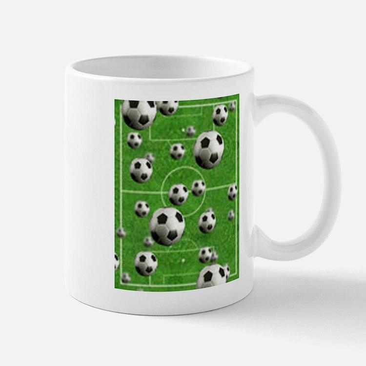 World Cup Balls over Field Mug
