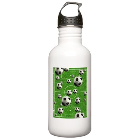 World Cup Balls over Field Stainless Water Bottle