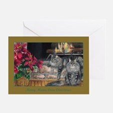 Maine Coon Cat Christmas Greeting Card