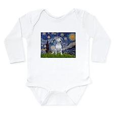 Starry Night/Bull Terrier Long Sleeve Infant Bodys