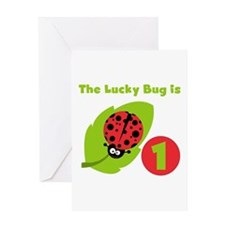 Lucky Bug 1st Birthday Greeting Card