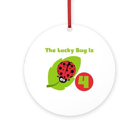 Lucky Bug 4th Birthday Ornament (Round)