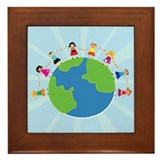 Kids around the world Framed Tiles