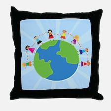 Kids Around the World Throw Pillow