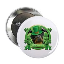 "Happy St. Patrick's Day Rottweiler 3 2.25"" Button"