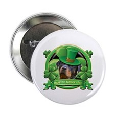 "Happy St. Patrick's Day Rottweiler 2 2.25"" Button"