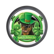 Happy St. Patrick's Day Rottweiler Wall Clock