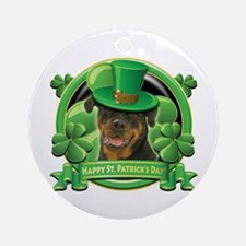 Happy St. Patrick's Day Rottweiler Ornament (Round