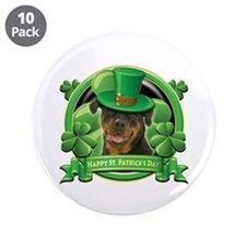 "Happy St. Patrick's Day Rottweiler 3.5"" Button (10"