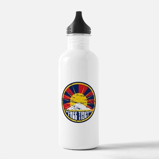 Free Tibet Grunge Water Bottle