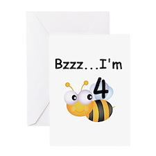 Buzz Bee 4th Birthday Greeting Card