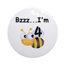 Buzz Bee 4th Birthday Ornament (Round)