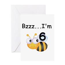 Buzz Bee 6th Birthday Greeting Card