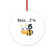Buzz Bee 6th Birthday Ornament (Round)