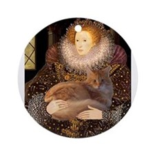 Queen / Red Maine Coon Ornament (Round)