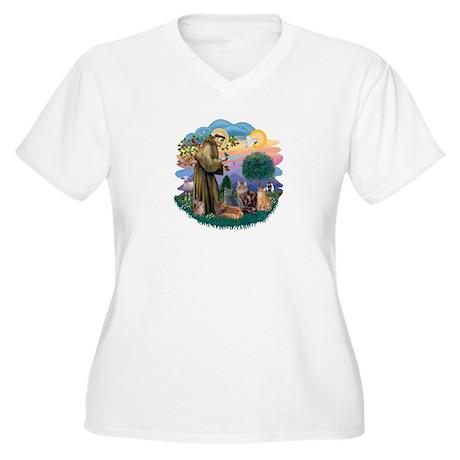 St Francis / 4 Cats Women's Plus Size V-Neck T-Shi