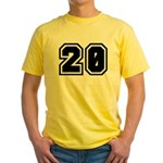 Varsity Uniform Number 20 Yellow T-Shirt