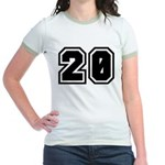 Varsity Uniform Number 20 Jr. Ringer T-Shirt