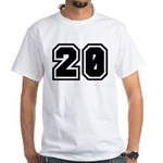 Varsity Uniform Number 20 Premium White T-Shirt
