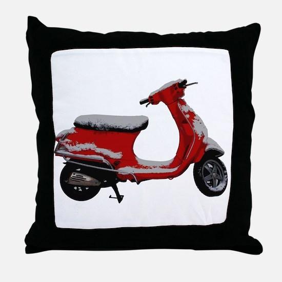 Scooter Snow Throw Pillow