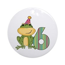 Party Frog 6th Birthday Ornament (Round)