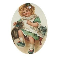 Irish Girl with Kittens Ornament (Oval)