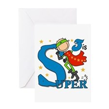 Super Boy 3rd Birthday Greeting Card