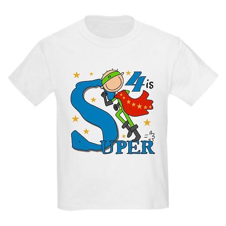 Super Boy 4th Birthday Kids Light T-Shirt