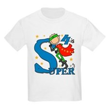 Super Boy 4th Birthday T-Shirt