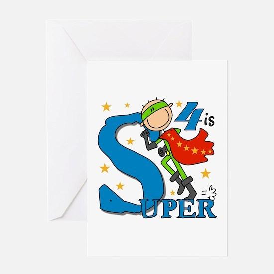 Super Boy 4th Birthday Greeting Card