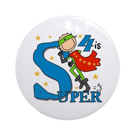 Super Boy 4th Birthday Ornament (Round)