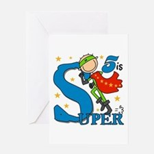 Super Boy 5th Birthday Greeting Card