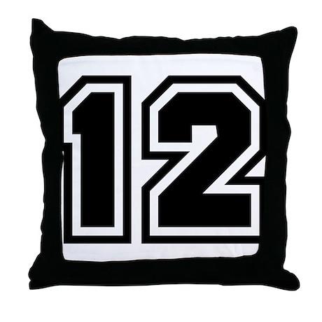 Varsity Uniform Number 12 Throw Pillow