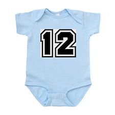 Varsity Uniform Number 12 Infant Creeper