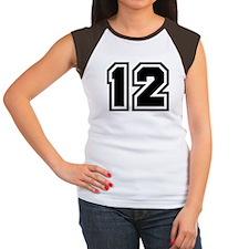 Varsity Uniform Number 12 Women's Cap Sleeve T-Shi