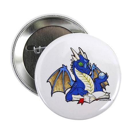 "Blue Bookdragon 2.25"" Button (100 pack)"