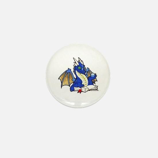 Blue Bookdragon Mini Button