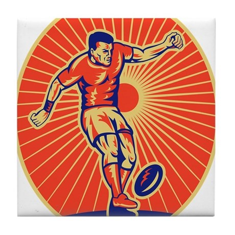 rugby player kickin Tile Coaster