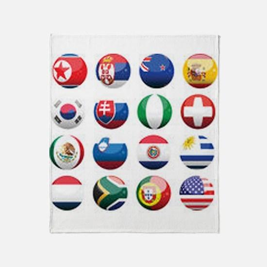 World Cup Soccer Balls Throw Blanket