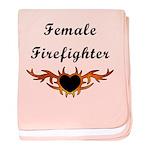 Female Firefighter Flames baby blanket