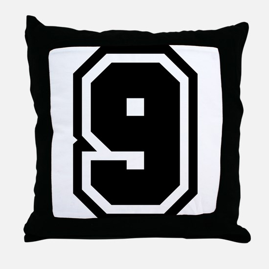 Varsity Uniform Number 9 Throw Pillow