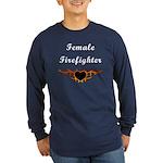 Female Firefighter Flames Long Sleeve Dark T-Shirt