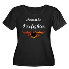 Female Firefighter Flames Women's Plus Size Scoop