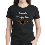 Female Firefighter Flames Women's Dark T-Shirt